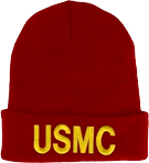 Knit Watch Cap - Red with USMC