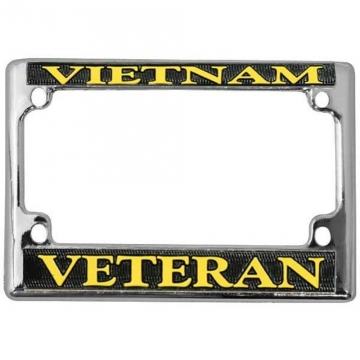 VETERAN U.S MARINE YELLOW Chrome Metal Bike Motorcycle License Plate Frame Tag