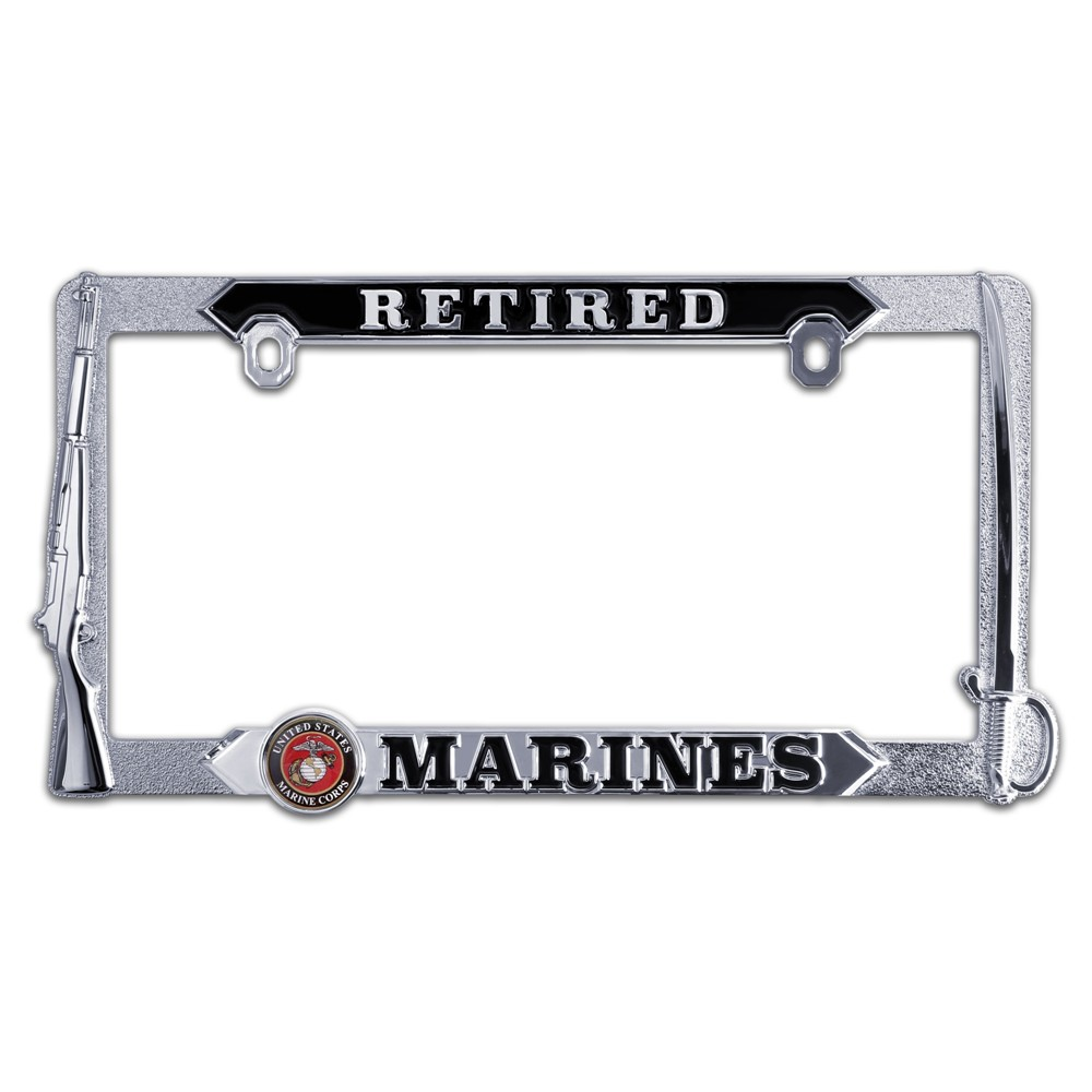 Marine Corps Retired 3D License Plate Frame | eMarinePX.com